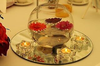 Table mirrors and tealight holders table centrepieces