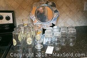 Glassware And Designer Tray- B