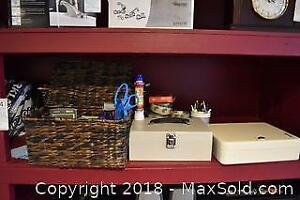 Basket, Boxes And Office Supplies. A