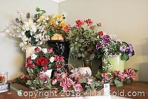 Artificial Flowers And Vases. B