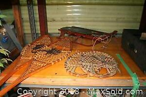 Antique Wood Sled And Snowshoes