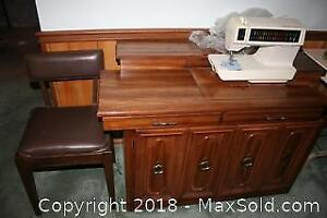 Sewing Machine Table and Sewing Supplies