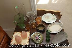 Depression Style Glass and Vintage Pieces. B