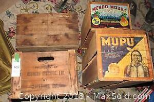 4 Old Wood boxes - Marked - B