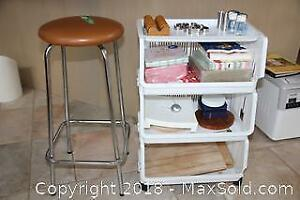 Plastic Rolling Rack Contents- Stool - A