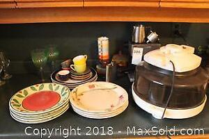 Espresso Maker, Cups And Oven. A