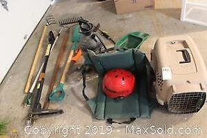 Garden Tools And Pet Crate. A