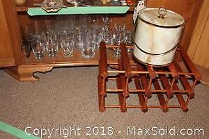 Wine Rack, Ice Bucket And Glassware A