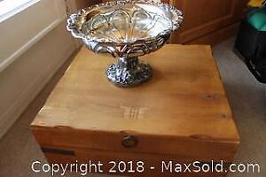 Footed Centrepiece And Wood Box. A