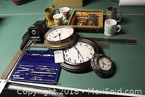 Drafting Tools, Rulers And Clocks. A