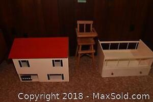 Doll House, highchair and bed B