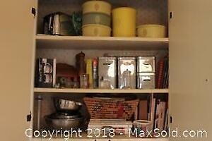 Assorted Kitchen Items And Cookbooks. B