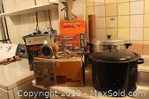 Small Appliances And Stock Pots. C