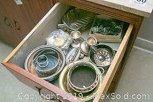 Sterling, Silver Plate And Coffee Spoons A