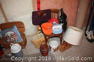 Chair, Purses and Baseball Hats A