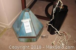 Stained Glass Lampshade and Purple Crackle Glass Hanging Lamp - A