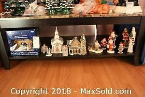 Christmas Village And Figurines. A