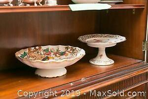 2 China Serving Dishes with Pedestal A