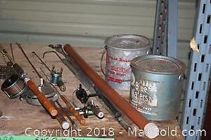 Fishing Rods, Lures, Tackle Boxes And Anchor