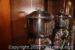 Silverplate Ice Bucket And salt And Pepper Set B