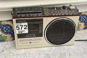 Vintage GE AM FM Cassette Radio and Print E