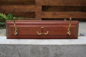 Wall Mounted Cherry Coat Rack with Brass Hooks