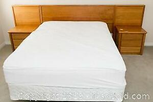 Bed with Pair of Attached Night Stands B