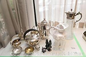 Silver Plate Tea Set, other Silver Plate items, Salt Pepper Shakers and more A