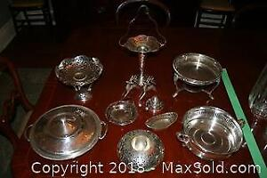Silverplate Serving Items and Two Reindeer Figures - A