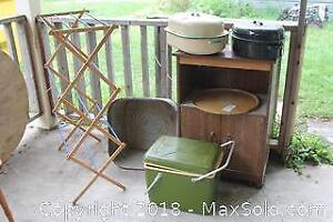 Vintage Cooler, Roasting Pans and Wash Tub. A