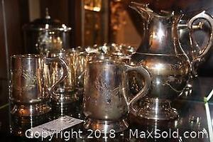 Silverplated Tankards And Pitcher B
