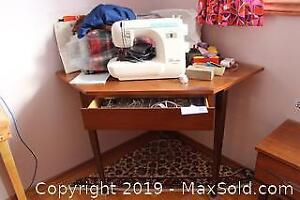 Sewing Machine And Corner Desk. B