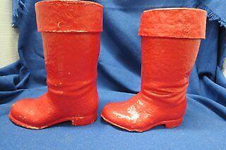 1 pr. Vintage Santa Boots   1 pr. Vintage paper mache/pressed cardboard Santa Bo