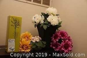 MCM Vase and Faux Flowers A