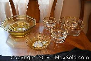 Amber and Gold Rimmed Glass. A