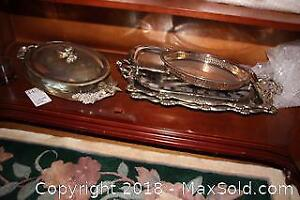 Silverplate Trays And Serving Dishes B