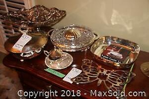 Silverplate And Glass Serving Pieces B