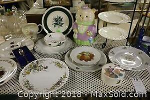 China Serving Pieces And Cookie Jar. B