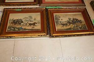 Framed Stage Coach Lithographs A