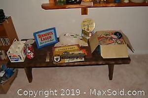 Table, Coke Collectibles And Coasters C