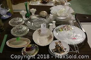 Glass And China Serving Dishes. B