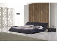 Cosmo Black Faux Leather Double Bed