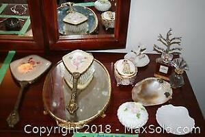 Antique Brush and Mirror Set, Ring Holders and Jewelry Box
