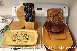 Wood Trays, Trivets, Baskets, Cutting Boards, Knife Set and Block