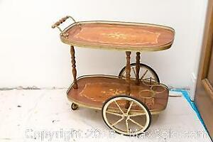 Rosewood Bar Cart and Beverage Trolley B