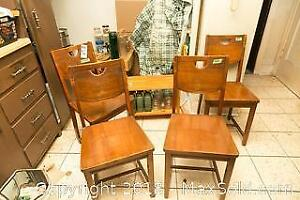 4 Vintage Wood Chairs Stand and Glass Bottles B