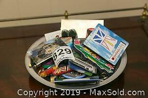 Tray of Key Chains and Fridge Magnets A