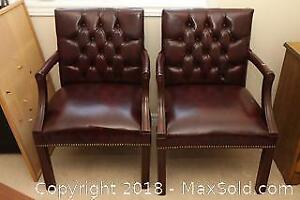 Pair of Office Style Armchairs. B