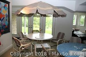 Outdoor Table Umbrella And Chairs. D