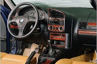 Bmw Wood Dash (FOR BMW E36 3 SERIES INTERIOR Dash Trim Kit 3M DASH TRIM BURL WOOD 20 PCS 91-98 )